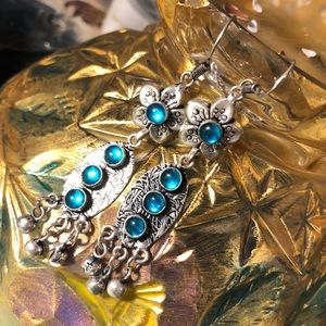 Silver and blue mystic topaz earrings